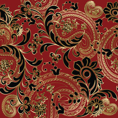 Paisleys floral elegant vector seamless pattern background wallpaper illustration with vintage stylish beautiful modern 3d line art gold and black paisley flowers leaves and ornaments.Paisley flowers