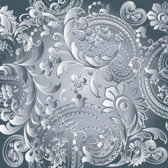 Paisleys floral light white monochrome elegant vector seamless pattern background wallpaper illustration with vintage stylish beautiful modern 3d paisley flowers leaves and ornaments Paisley wallpaper