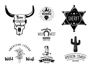 Wild West. Set of vintage rodeo emblems, labels, logos, badges and designed elements. Western USA label about wild west