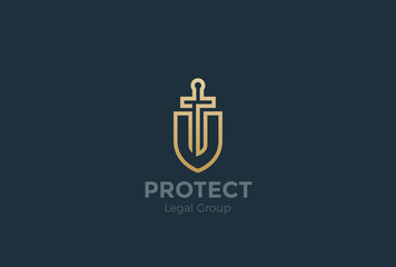 Lawyer Attorney Logo vector Shield Sword Law Legal firm Security