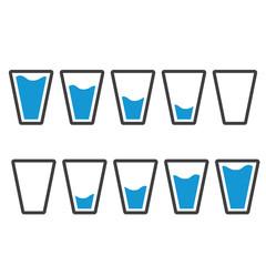 Filling blue glasses of water set. Flai icons set. Raster illustration