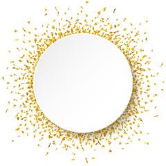 White round paper banner on golden confetti background. Vector illustration.