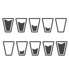 Filling black glasses of water set. Flai icons set. Raster illustration