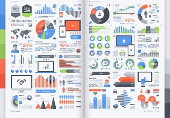 Shaded Data and Chart Infographic Elements Pack