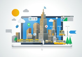 City Scene on a Laptop Illustration