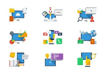 Brightly Colored Tech and Productivity Icon Set