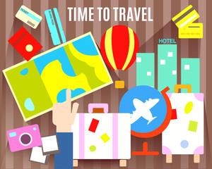 Time to travel. Tourism symbols.