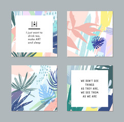 Creative cards, artistic banners, Inspiration quote for social media. Vector