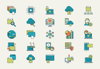 Heavy Outline Tech Icon Set