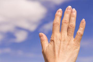 Woman hand with osteoarthritis