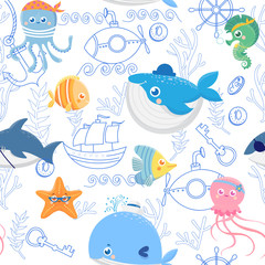 Seamless pattern with funny sea animals. Cute pirates. Vector background