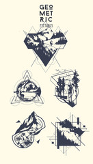 Set of blackwork tattoo art. Geometric hand drawn landscape. Isolated vector illustration.