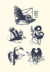 Set of blackwork tattoo art. Geometric hand drawn birds. Isolated vector illustration.