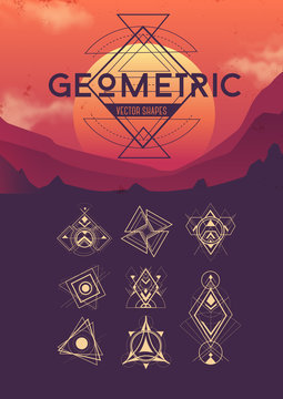 Different geometric vector shapes. Collection of design elements
