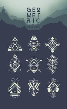 Geometric hipster symbols set. Linear modern design elements. Se
