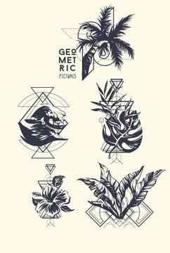 Set of blackwork tattoo art. Geometric hand drawn tropical. Isolated vector illustration.