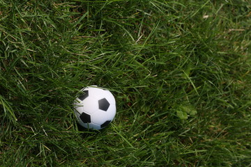 Soccer ball on field. Close up