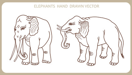 Elephants In Indian Style. Hand Drawn Silhouette. Vector Illustration Elephant Tattoo, Decor. Elephant Revival. Elephant Hipster.