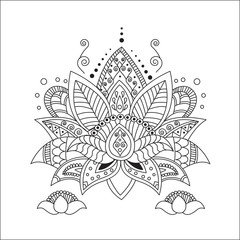 Beautiful Lotus. Ornament Vector Yoga. Hand Drawn Element. Picture For Design, Kaleidoscope, Medallion, Yoga, India, Arabic. Vector Lotus.