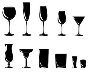 Verschiedene Cocktail- und Weingläser