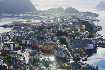 Beautiful super wide-angle summer aerial view of Alesund, Norway