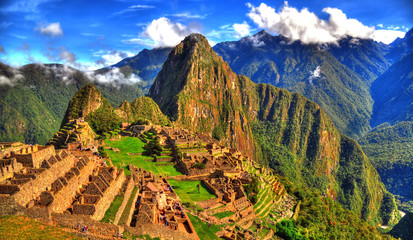 Landscape panoramic picture of the cloudy weather in Machu Picchu in HDR