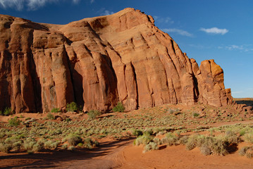 Landscape with red sandstone and green vegetation in Monument Valley, Arizona, USA