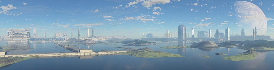 ciudad sci-fi desde el mar