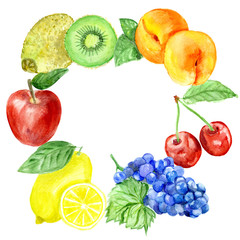 Eco food menu background. Watercolor hand drawn fruits.