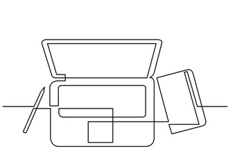 continuous line drawing of laptop computer notepad pen