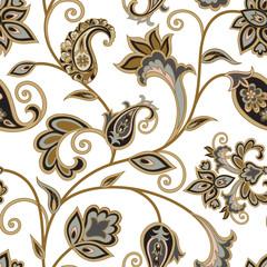 Floral pattern. Flourish oriental ethnic background. Arabic swirl flower leaves ornament