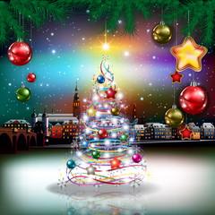 Christmas greeting with panorama of city