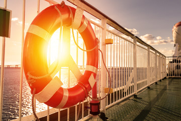 Lifebuoy ring on upper deck of cruise