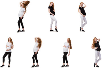 Pregnant woman in composite image isolated on white