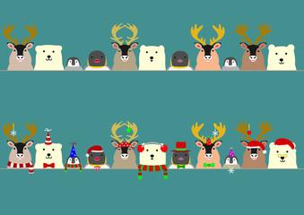 cute arctic animals border set