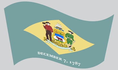 Flag of Delaware waving on gray background