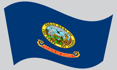 Flag of Idaho waving on gray background