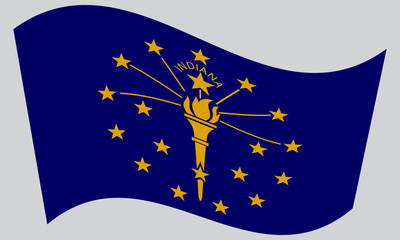 Flag of Indiana waving on gray background