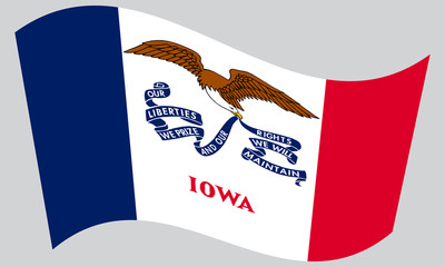 Flag of Iowa waving on gray background