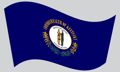 Flag of Kentucky waving on gray background