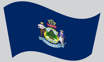 Flag of Maine waving on gray background