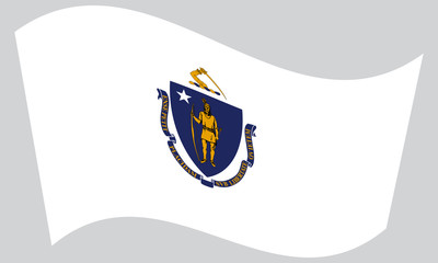 Flag of Massachusetts waving on gray background