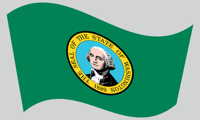 Flag of Washington state waving on gray background