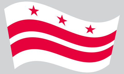 Flag of Washington, D.C. waving on gray background