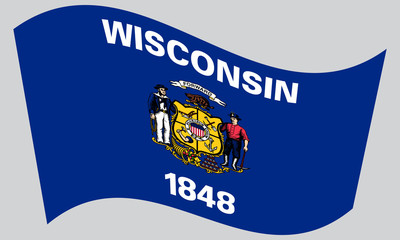Flag of Wisconsin waving on gray background