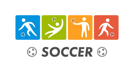 Silhouettes of figures soccer athletes