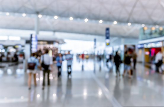 Abstract blur airport interior for backgounrd at Hong Kong