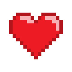 Vector pixel art heart for game.