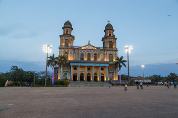 Managua, Nicaragua – March 07, 2016: Old Cathedral ruins of Cathedral Santo Domingo Managua Nicaragua Plaza of the Republic