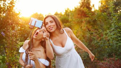 Two sisters make selfie